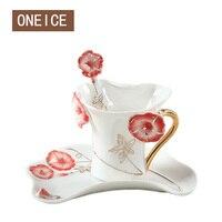 Morning Glory Ceramic Coffee Cup Saucer Creative Wedding Birthday Gift European Bone China Cups Black Tea