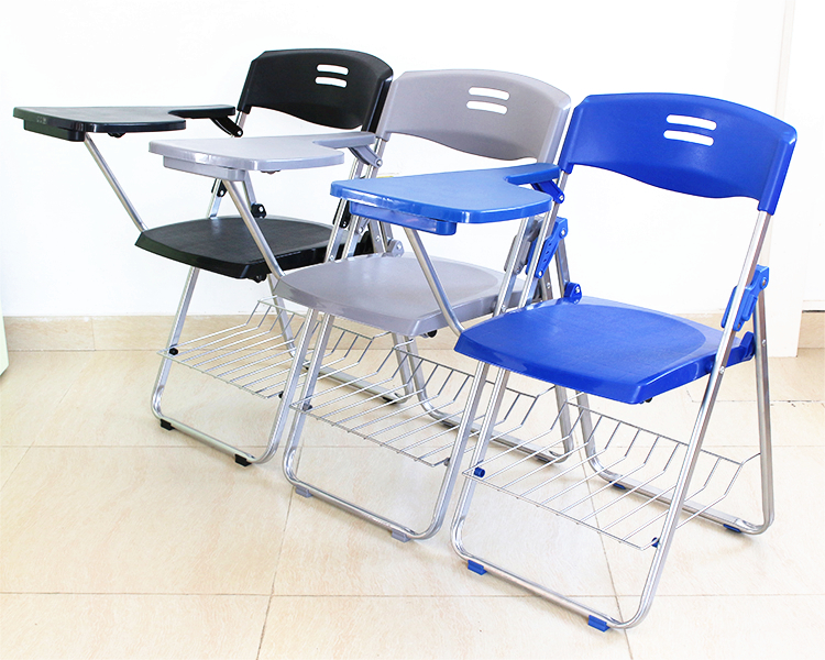 2pcs/lot Simple Strengthen Office Chair Folding Portable Training Chair With Writing Board Chair Staff Conference Meeting Chair