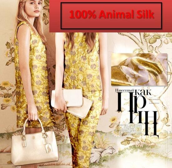 100% Pure Mulberry Satin Soft Gold gold silk jacquard silk fabric Dressmaking Clothes Skirt Shirt Material Clothes a Yard H902-