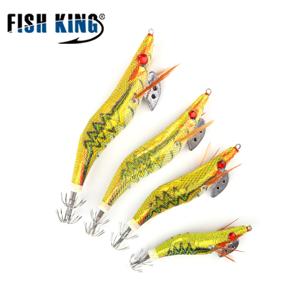 FISH KING Fishing Lure Size 2#2.5#3#3.5# Lead Sinker Squid Hook Jigs Octopus Cuttlefish Shrimp Baits 3D Eyes Luminous Lures lifelike shrimp style soft pvc fishing baits w hook yellow size l 3 pack