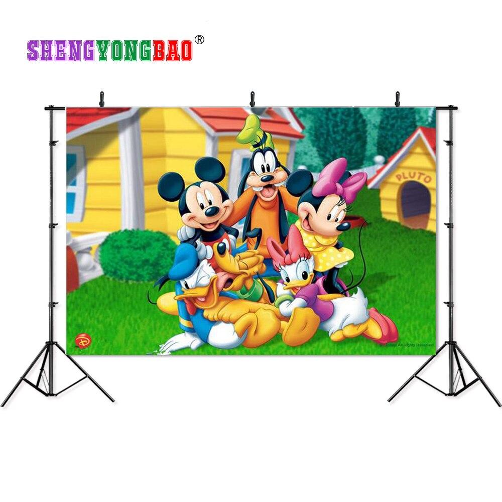 SHENGYONGBAO meno audinio skaitmeninės spausdintos fono nuotraukos fotografijai Mickey Mouse tema Foto studija Fonas N-1088