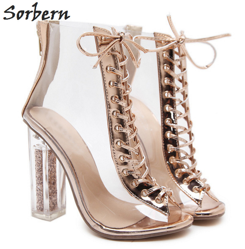 Sorbern Sexy Transparent Pvc Ankle Boots For Women Lace-Up Front Clear Heels With Sequins Plastic Short Boots Women Shoes 2018 sorbern sexy red ankle boots for women open toe lace up front super high heels 2018 women ankle booties cowgirl girls shoes