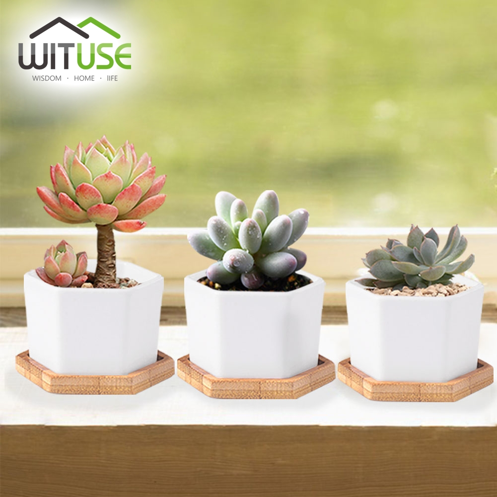 Wituse Cheap 4x Cute Flower Pots Container Glazed Ceramic Mini