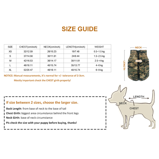 Waterproof Dog Clothes Winter Pet Jacket Cotton Warm Camouflage Vest For Small Dogs Puppy Coat French Bulldog Clothing Cat Suit 5