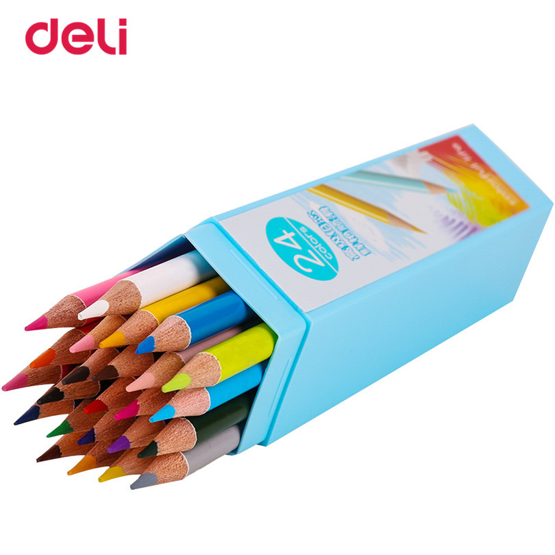 Deli 24pcs Wind Pure Color 24 Colored Pencil Drawing Painting Boxed Candy Colors Lead Pencils Cute Stationary Office Pencil 40DS figma marvel avengers super hero 14cm pvc captain america