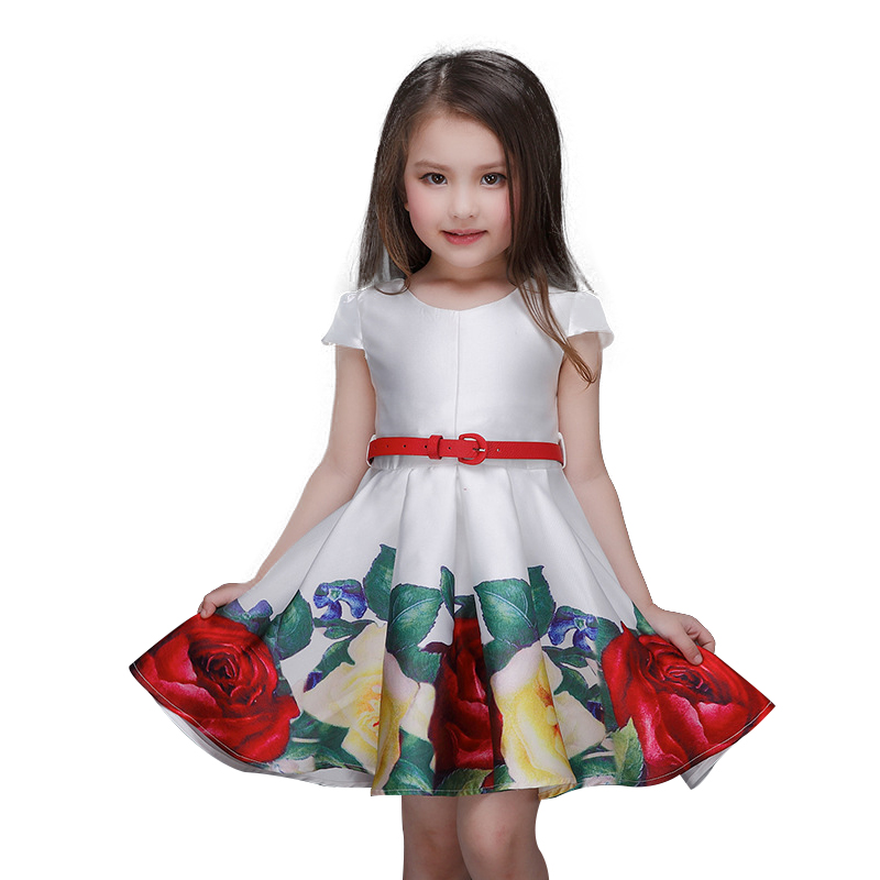 Baby Girls Dress Sleeveless 2017 Rose Flower Kids Clothes Girls Dresses Spring Brand Princess Dress Children Clothing Christmas baby girls clothes of kids 2016 children brand dress for clothes girls flower red palace style princess children s dresses dress