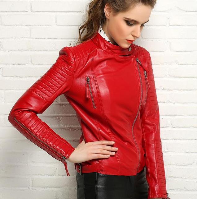 Spring 2017 black red motorcycle genuine leather jacket womens sheepskin jackets and coats slim oblique zipper short clothes 3XL
