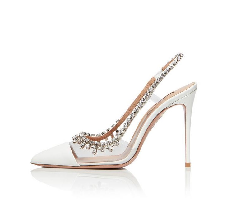 Sexy White Clear PVC Crystal Wedding Shoes Bride Elastic Band Slingback Fringe Shoes Bling Bling Rhinestone Pointed Toe Pumps