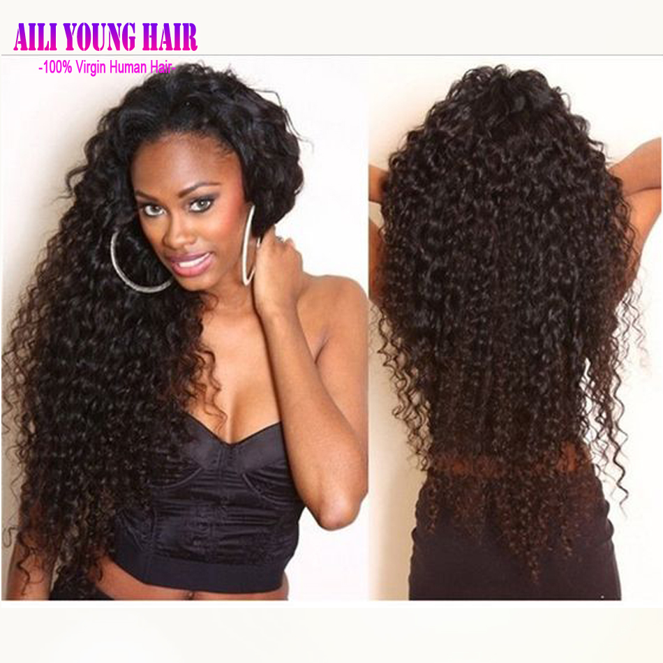 130 Density Virgin Malaysian Curly Wig Afro Kinky Curly ...