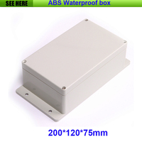 Free Shipping 200 120 75mm Waterproof Plastic Electronic Project Box With Ear Plastic Waterproof Enclosure Box