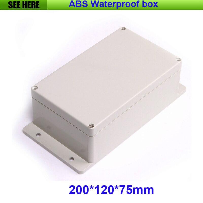 Freies Verschiffen 200*120*75mm Wasserdicht Kunststoff Elektronische Project Box Mit Ohr Kunststoff Wasserdichte Gehäuse Zählerkasten Box