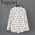 Topjini New Style 2017 Cotton Broadcloth Casual Full Sleeve Women Shirts Print Square Collar Regular Female Blouses