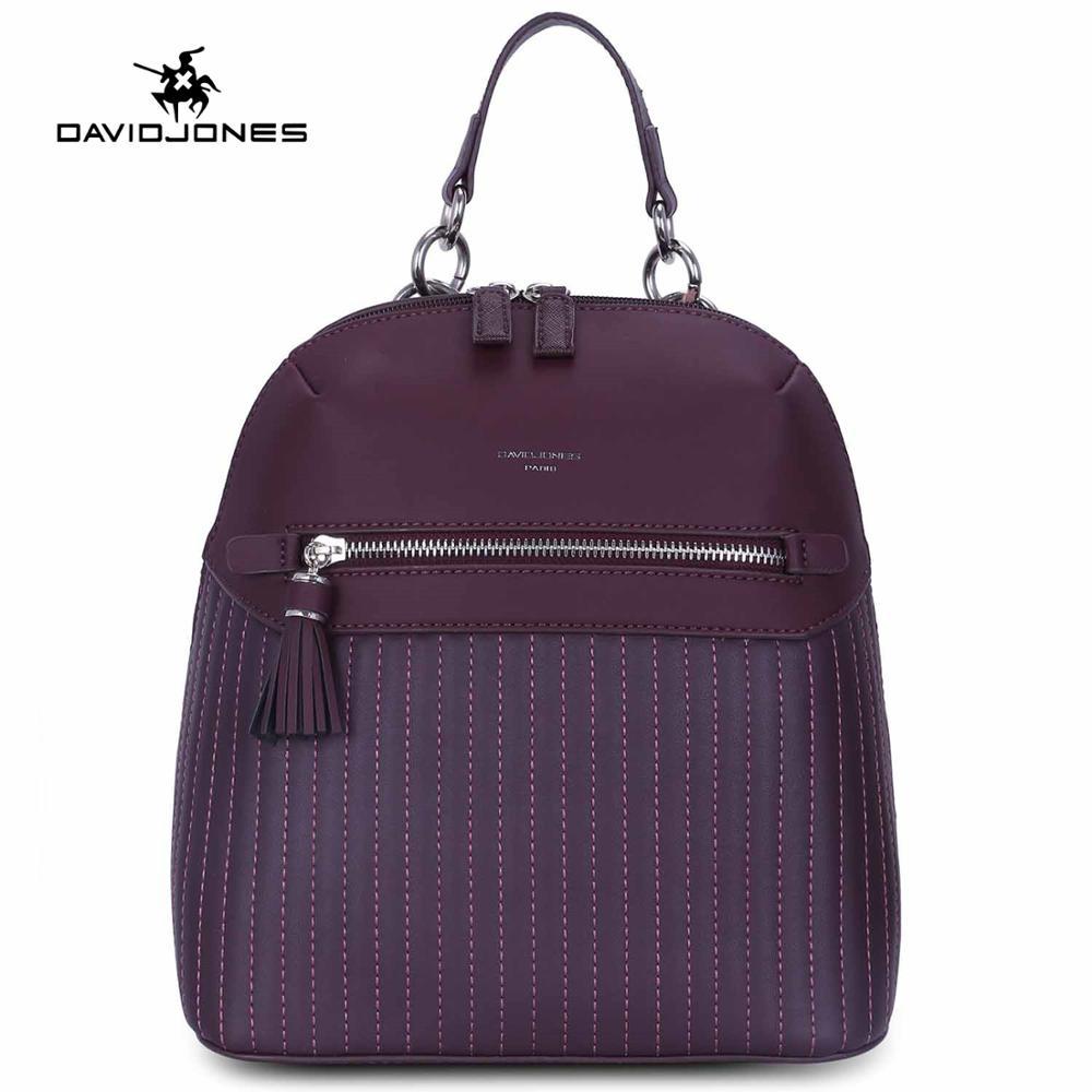 DAVIDJONES women backpacks faux leather female shoulder bags big lady striped school bag girl brand softpack
