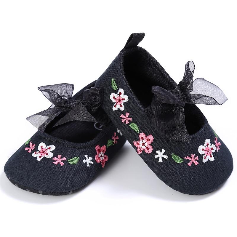 Sepatu untuk Anak Perempuan Crib Sepatu Mary Jane Sepatu Flat Lembut Sole Anak Baru Lahir Bayi Balita Bunga Rumah Kasual Footgear 0-18 Bulan
