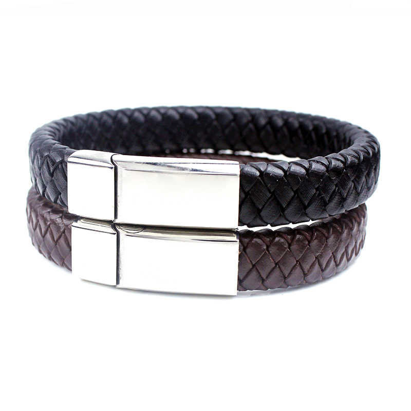 040 Casual Men Female Braided Bracelets Stainless Steel Handmade Genuine Black Brown Leather Bracelets Fashion Jewelry