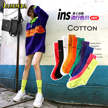 New Cotton Streetwear Hiphop Fashion Solid Womens Socks Movements Letter Skateboard Harajuku College Long Drop shipping