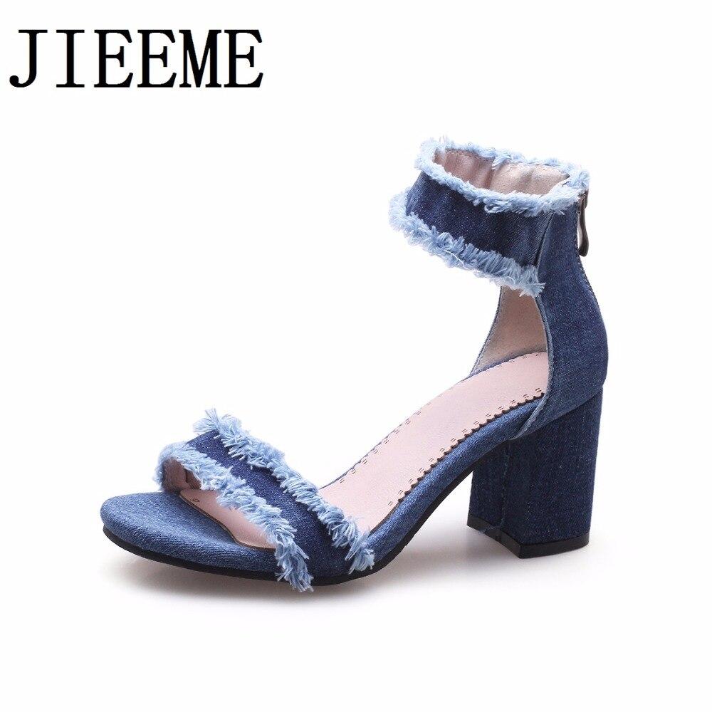 Éclair Denim Sandales Hauts Femmes Arrivée De Nouvelle Femme Chaussures Bleu Carrés Fermeture Mode 2018 Casual Talons g0Xxqz
