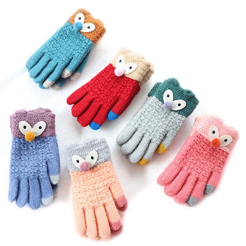 4 ~ 7y Winter/herbst Kinder Warme Handschuhe Kinder Finger Weiche Gestrickte Jungen Handschuhe Karton Mädchen Bär Handschuhe Für Kinder 2018