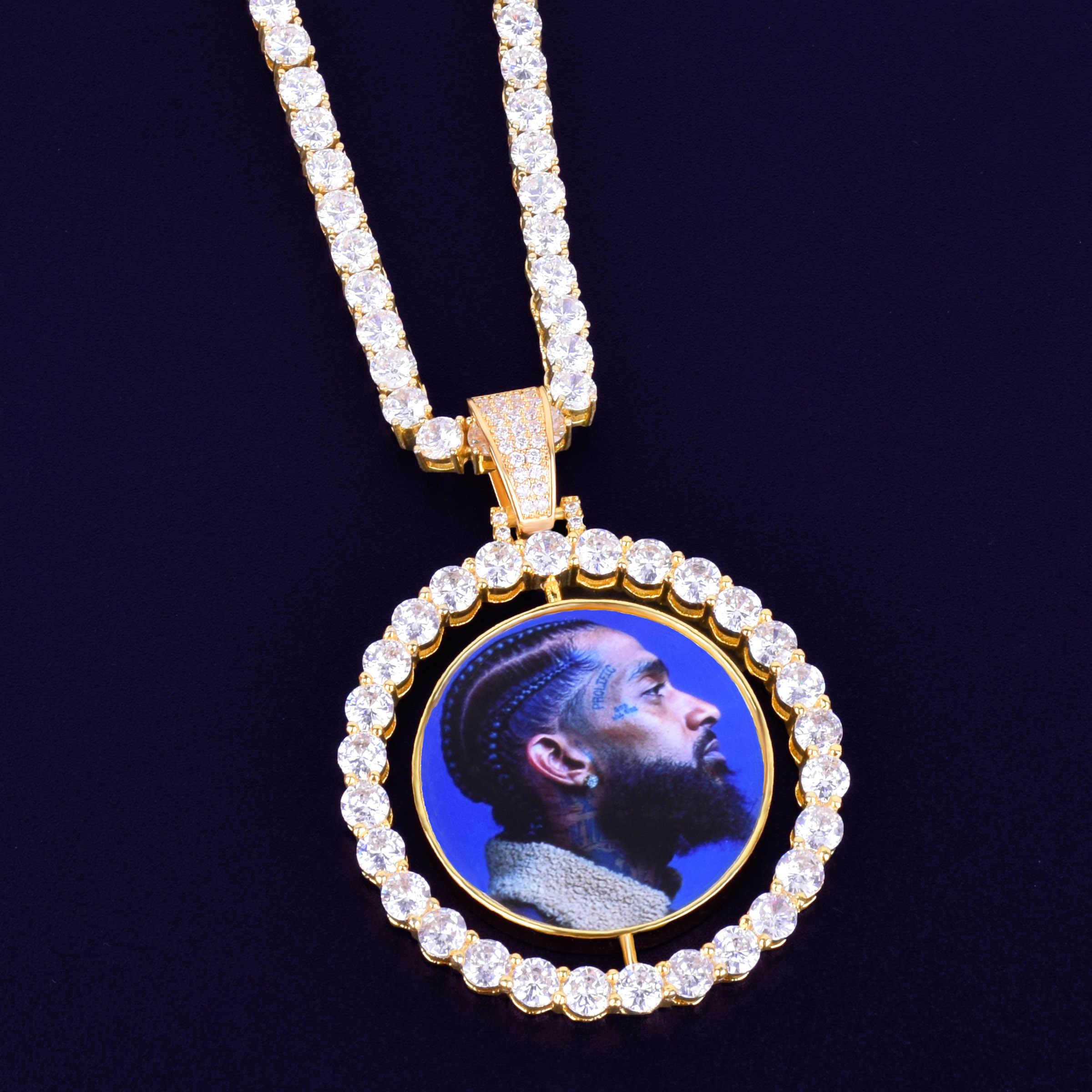 CUSTOM Made Photo หมุนสองด้านเหรียญสร้อยคอจี้ 4 มม.โซ่ Zircon ผู้ชายเครื่องประดับ Hip hop 2x1.65 นิ้ว