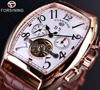 Forsining Square Mechanical Design Rose Gold Case White Dial Brown Leather Strap Mens Watches Top Brand