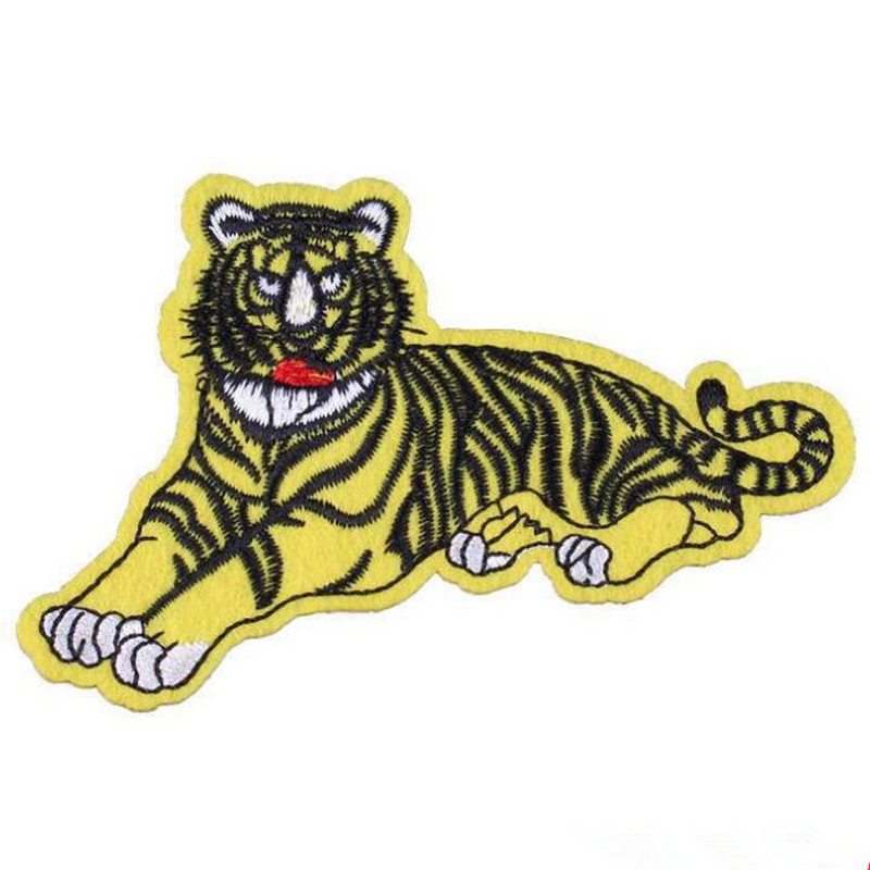 Clothing diy embroidery patch deal with it 10cm tiger fashion biker patches for clothes flower stickers fabric free shipping