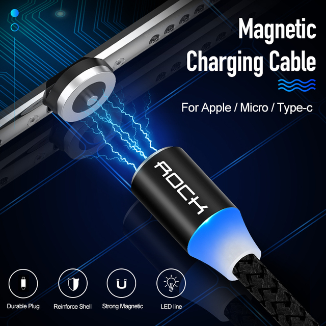 ROCK Metal Magnetic USB Cable For iPhone Type C Micro 2.4A Fast Charger Lighting Led Light For Xiaomi Huawei Android Phone 1M