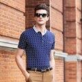 2016 Super alta calidad de rayas de moda 100% algodón ocasional de los hombres camisa de polo de negocios