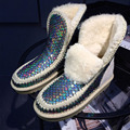 Mujeres Nieve Botas de piel de Oveja de Lana de piel de oveja de Cuero antideslizante 100% Natural Fur Señoras Planas Botines Cálido Invierno de Las Mujeres de Zapatos