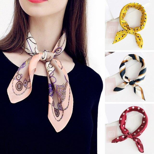 Элегантный Для женщин шёлковый шарф, модный 50X50 см женский шарф с квадратами волос шеи шарф летние женские шелковые платки для Бизнес Вечерние