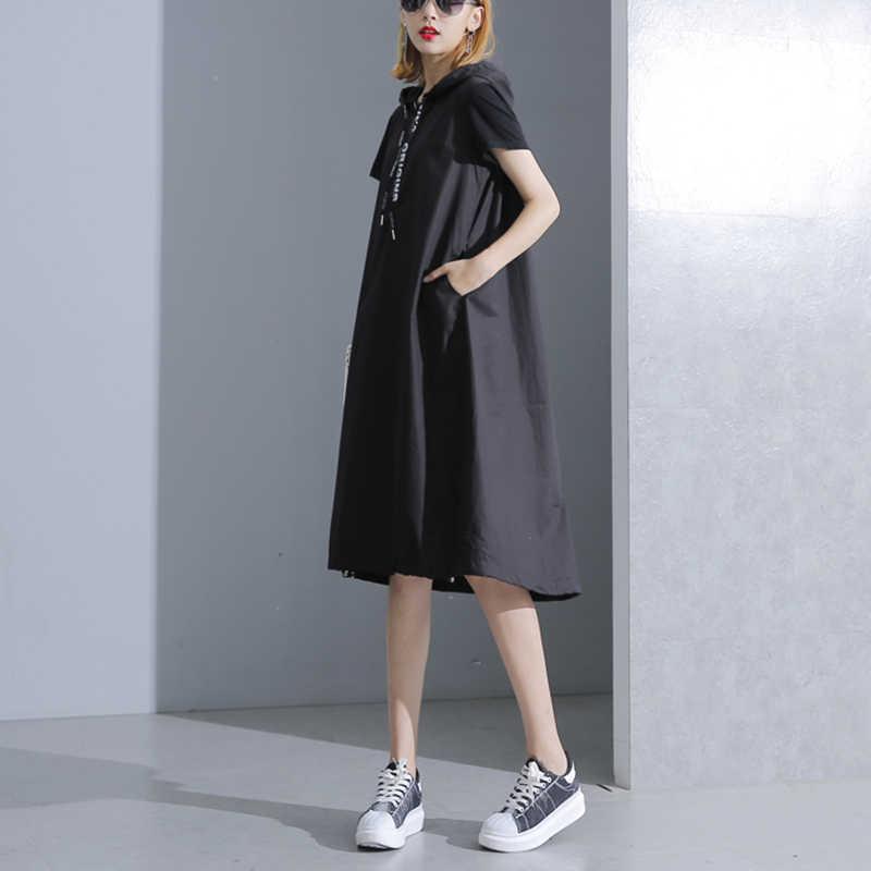 XITAO черное платье миди с капюшоном 2019 женское платье с коротким рукавом размера плюс элегантная женская одежда пуловер трапециевидные вечерние платья Новинка KY428