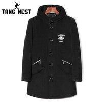 Tangnest erkekler moda serin sonbahar ve kış yün ve karışımları siyah düğme yeni tasarım sıcak spor ceket mwn281