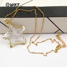 WT N1119 Großhandel Mode Diy Verknotet Kristall Quarz Halskette anhänger Natürliche Stein Stern mit gold trim halskette schmuck