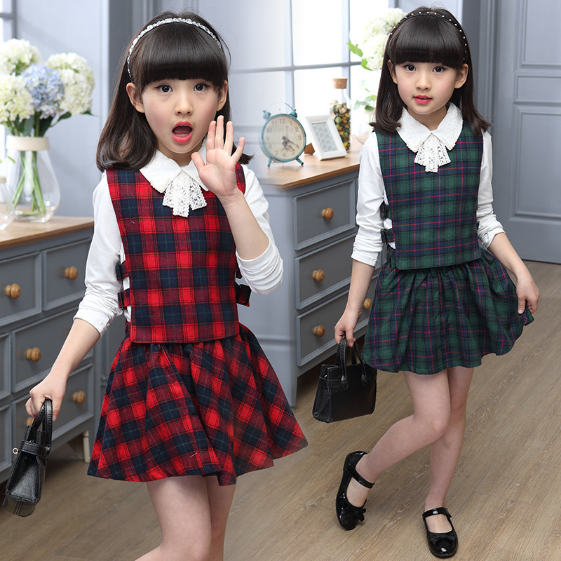 Anlencool Children wear 2018 autumn new girl plaid dress suit three sets children fashion Korean edition Children clothing set children s suit 2018 fashion england wind children s clothing autumn and winter boy plaid suit performance clothing