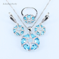 L&B Amazing Sky Blue crystal White zircon patry Jewelry Sets For Women Silver color 925 logo Necklace/Pendant/Earrings/Ring