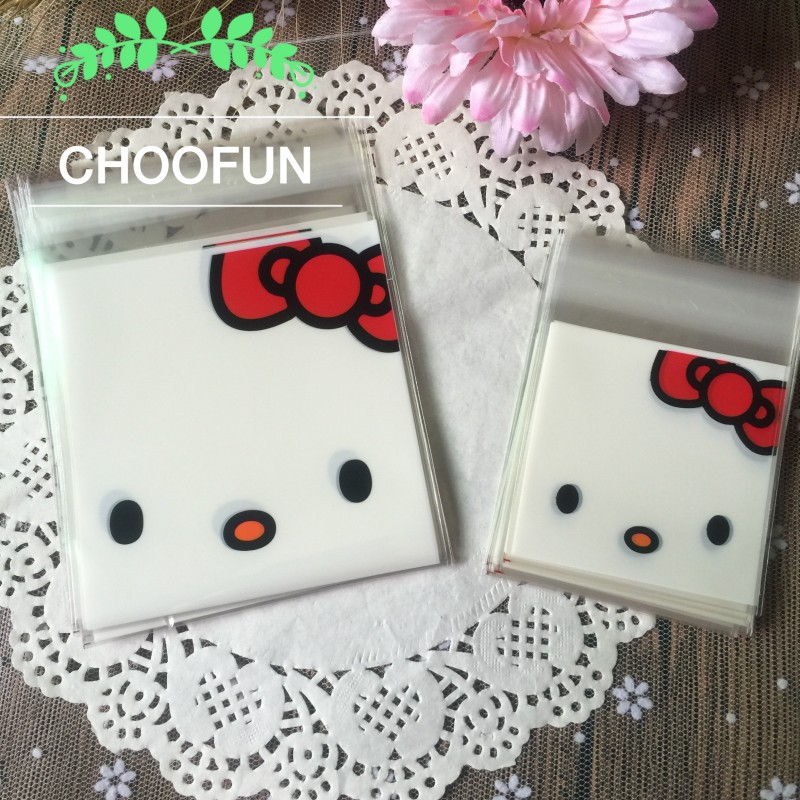 100pcs/lot 10cm&7cm 2 Size White Cat Style OPP Event Party Gift Bags Candy And Cookies Plastic Packaging Bags BZ011