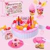73 Pcs Cutting Birthday Cake Kitchen Toys Pretend Play Food Toy Kitchen For Children Plastic Play