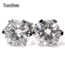 TransGems free shipping 2 Carat Lab Grown Moissanite Diamond Stud Earrings jewelry Solid White Gold push Backs Women Gift