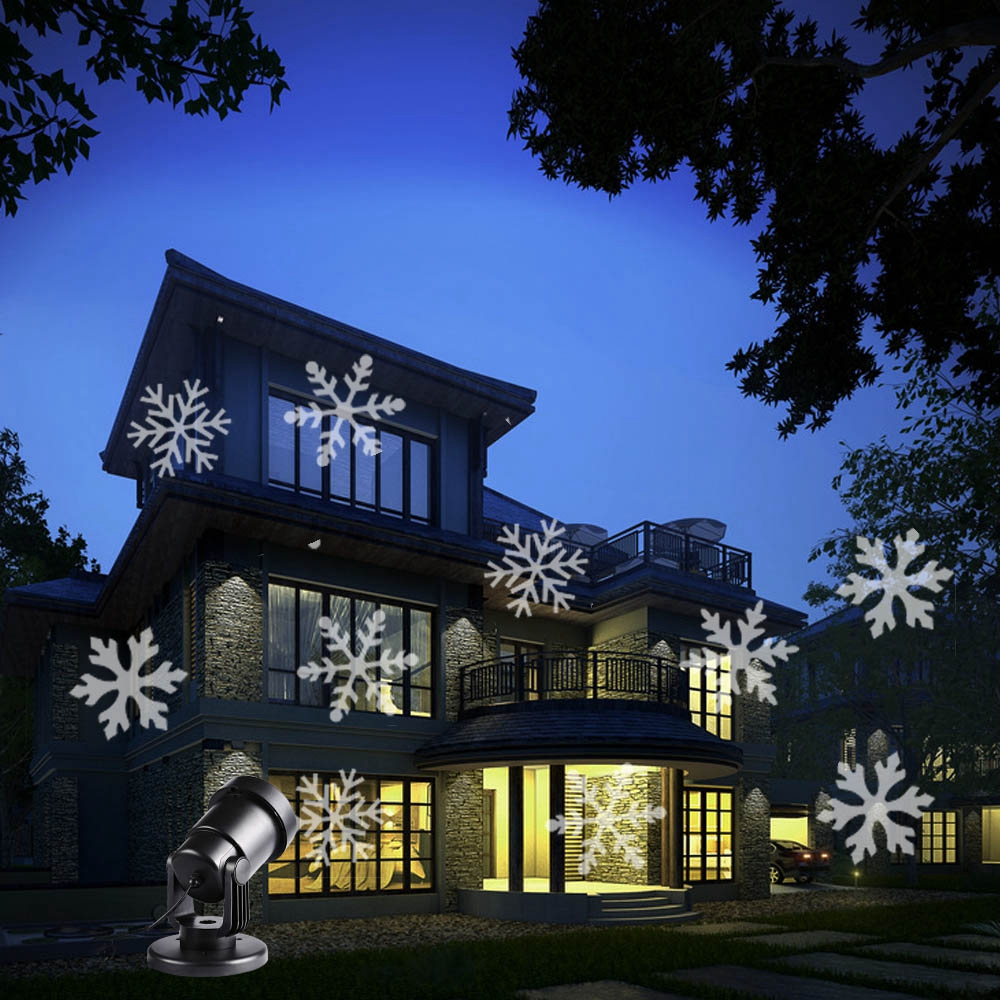 Holigoo LED Snowflake Effect Lights Outdoor Christmas Light Projector Garden Holiday Xmas Tree Decoration Landscape Light 12 type rgb led snowflake projector light garden landscape light lawn lamp christmas light outdoor holiday decoration spotlight