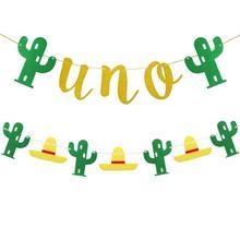 2 шт. Мексика Fiesta баннер для вечеринки UNO баннер кактус тема нетканых материалов баннер гирлянда для развешивания украшения A3