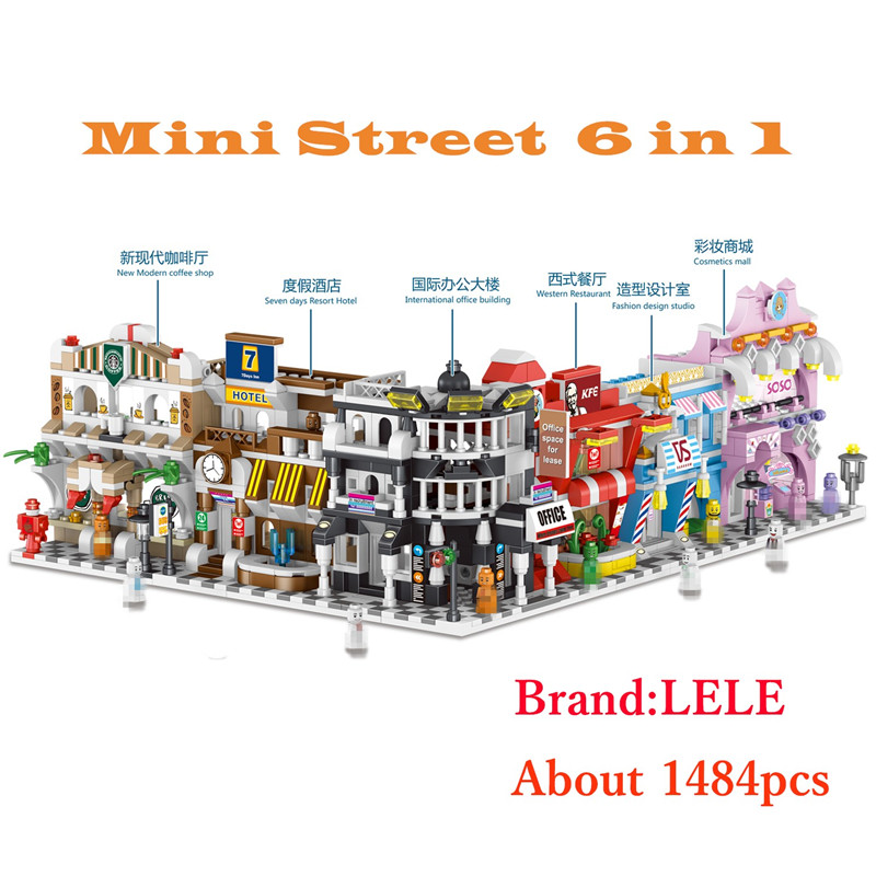 LELE Creator Mini Street View 3 mixed model Building Blocks Bricks educational DIY toys for children gifts brinquedos legoINGly 18k rose gold plated rhinestone awesome swan stud earrings golden pair