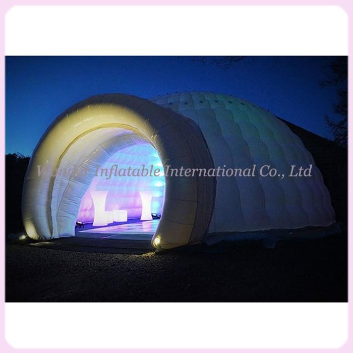 Zunanji velikanski nepremočljivi šotor za napihljiv sneg iz oksforda z osvetljenim šotorom v obliki zračne kupole za prireditve