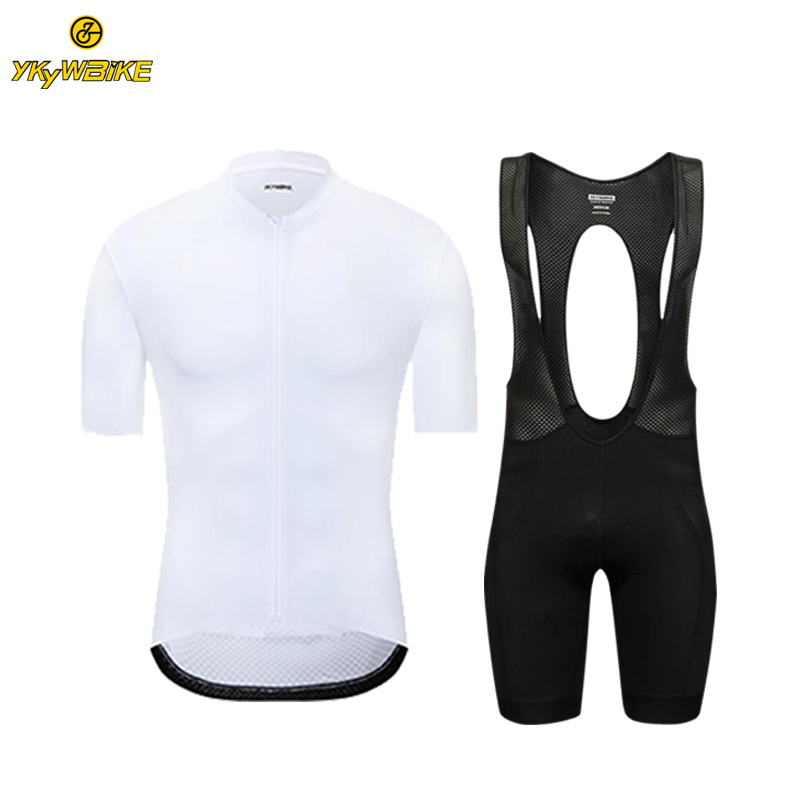 YKYWBIKE Men Cycling Jersey Set White Color Short Sleeve High Quality Seamless Technology MTB Bicycle Clothing Cycling Bib Set paladinsport men s skull patterned short sleeved dacron cycling jersey white red xl page 7