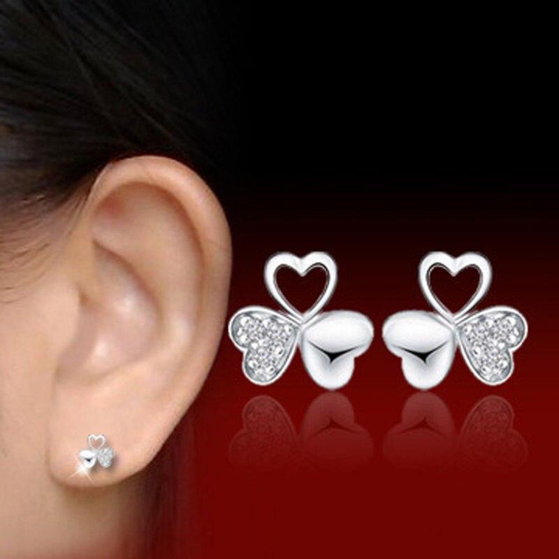 1 Pair Lovely Plated  Silver Crystal Rhinestone Earrings Clover Heart Shape Stud Earrings  Women  Fashion Earrings