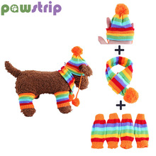 Pawstrip, 3 цвета, вязаная собачья шапка, шарф, набор, мягкие гетры, одежда для щенков, зимняя теплая одежда для собак, для маленьких собак, XS-L