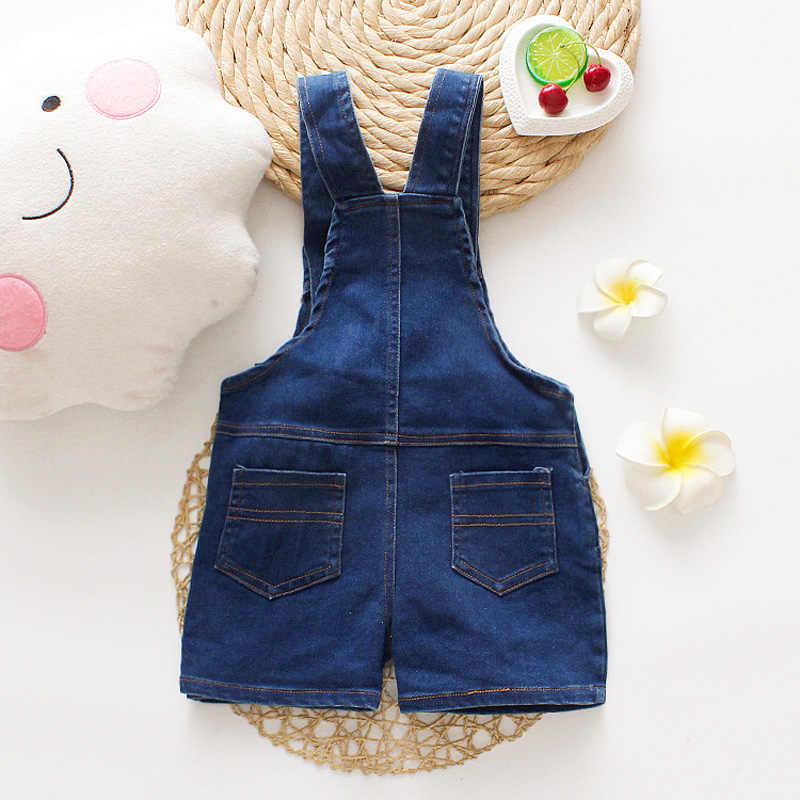 DIIMUU ฤดูร้อนแฟชั่นเด็กวัยหัดเดินเด็กเสื้อผ้าเด็กผู้หญิงกางเกงขาสั้นกางเกงยีนส์กระเป๋าสบายๆล้าง Jumpsuits กางเกง