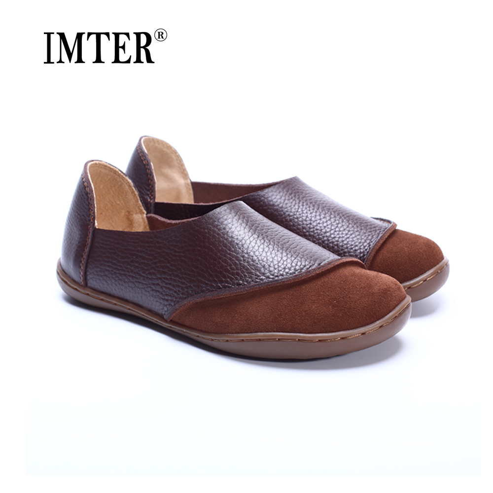 35 42 Women Shoes Hand made Genuine Leather Ladies Flat Shoes Round Toe Slip on