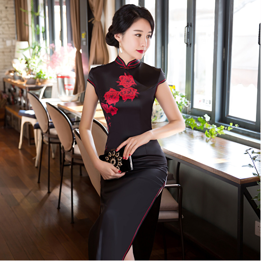 Sexy moderne Frauen Cheongsam Cocktail schwarz China langes Kleid ...