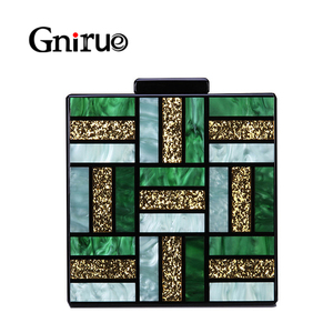 Image 1 - New Fashion Geometric Patterns Evening Bags Green Acrylic Bag Square Women Day Clutch Bags Party Prom Wedding Handbags Clutches