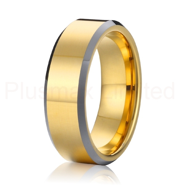 high quality 2015 new classic gold color and silver health 8mm mens and womens pure titanium wedding band promise rings