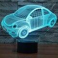2016 Colorful Beetle Car 3D Luz Conduzida Da Noite Lâmpada de Humor para o Feriado 3D lâmpada USB Lâmpada 7 Cores Mudando Como Presente para as crianças menino amigo